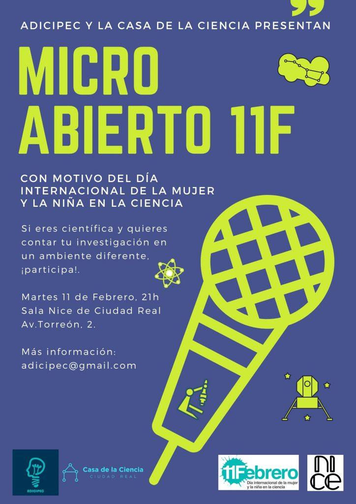 """El martes 11 de febrero, a las 21:00 h. en la Sala Nice de Ciudad Real, tendra lugar el Micro Abierto: """"Día de la mujer y la niña en la ciencia."""